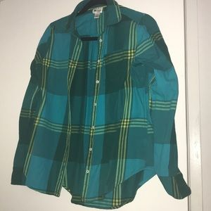 Green striped flannel shirt